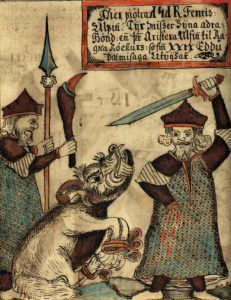 Tyr and Fenrir. From an 18th century Icelandic manuscript.