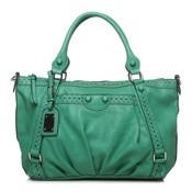 Green handbag with pretty details.