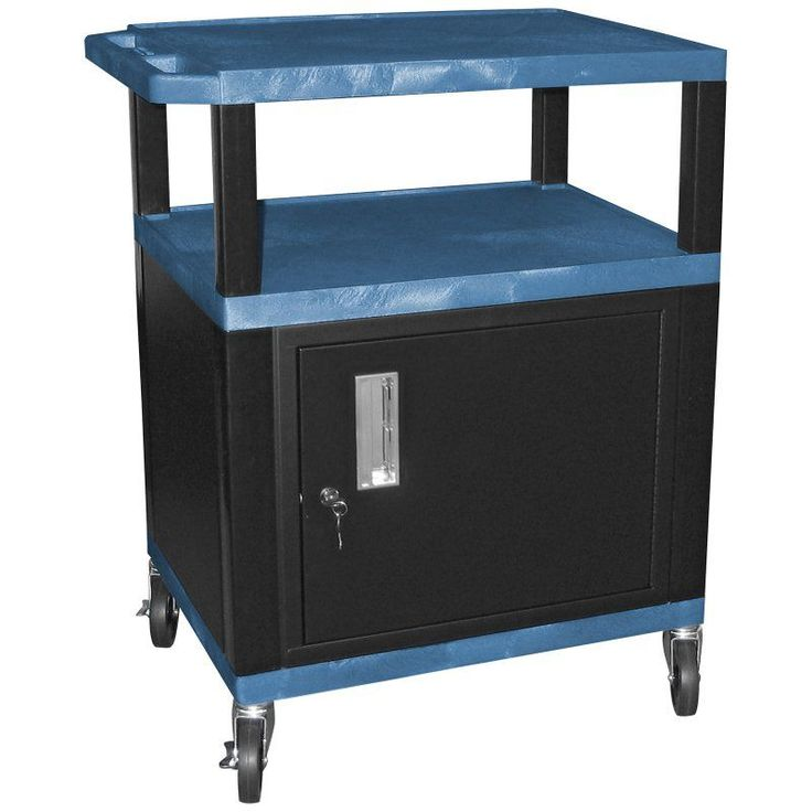Tuffy 34 in. Utility Cart with Locking Cabinet Black Legs/Black Shelves