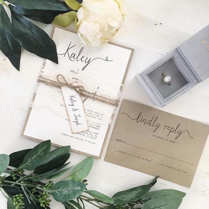 Rustic Wedding Invitation, Vintage Lace