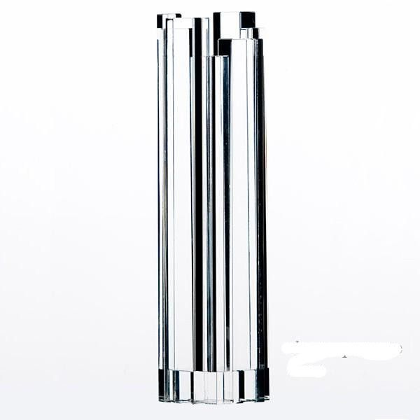 Gaia & Gino, SKYCRAPERS, Constantin Boym, 2008. Large vase in Optica Crystal.Optical crystal vase designed by Constantin Boym for Gaia & Gino. A random assortment of black and crystal towers form the handmade vase. Due to its handmade nature, slight size and shape variations may occur. Dimension: H. cm. 26 large: H. cm. 32