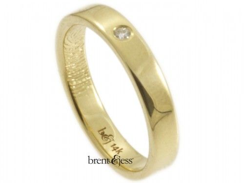 Awesome k Yellow Gold and Diamond Fingerprint Engagement Ring with High Polish Finish by Brent u