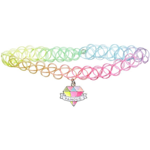 Elasticated choker ❤ liked on Polyvore featuring jewelry, necklaces, multi color necklace, elastic choker necklace, pink pendant, choker necklaces and multi coloured necklace