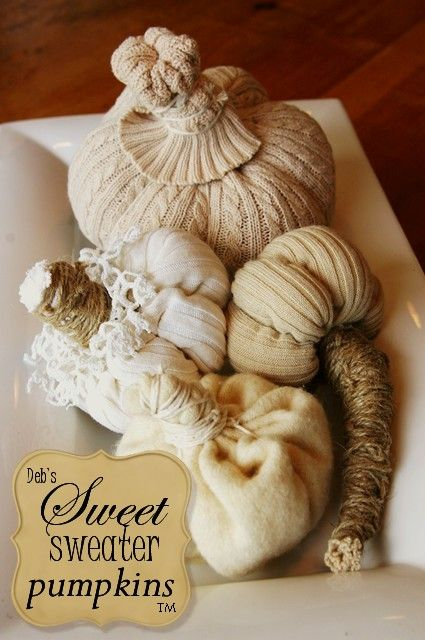 deb s original sweet sweater pumpkin tutorial, repurposing upcycling, seasonal holiday d cor, the Original Sweet Sweater Pumpkin designed by Debi Ward Kennedy in 2007 and sold at vintage shows on the West coast each fall since then Pumpkins AND the tutorial are now available at