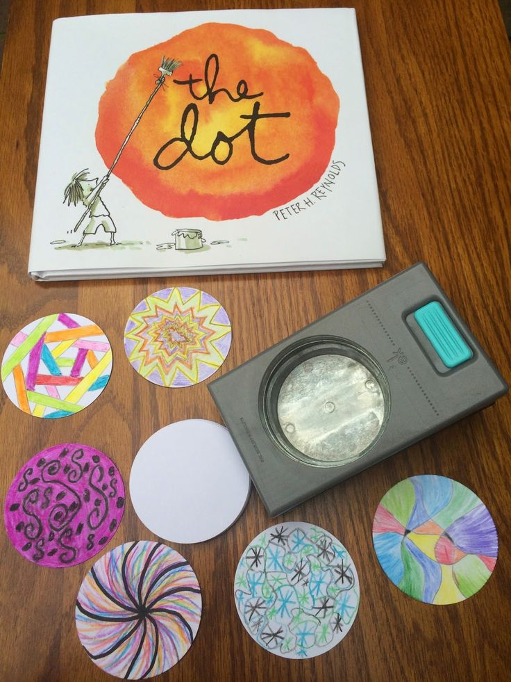 """International Dot Day. Sept. 15-ish. 2"""" circle punch - - students make their mark decorating a """"dot""""  - - Celebrate Creativity, Collaboration, and Courage"""