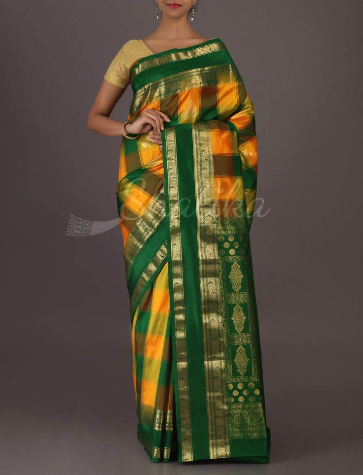 Sarika Checks-O-Stripes Auspicious Colored #BangaloreWeddingSilkSaree