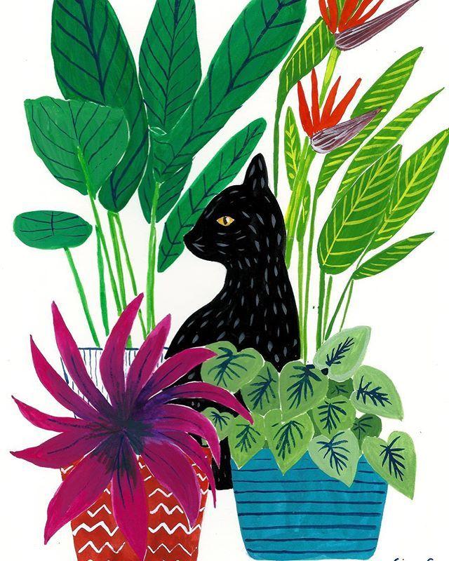 Peekaboo! Gouache illustration