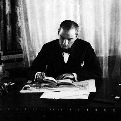 Mustafa Kemal Ataturk, reading one of his many books.