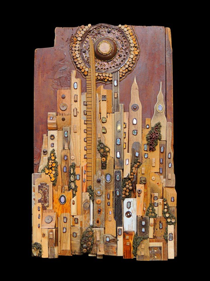 """#sun on metropolis, title """"Sunset on amaranth city"""", recovered wood installation wall panel, see more on FB page https://www.facebook.com/pages/Silvia-Logi-Artworks/121475337893535?fref=ts"""