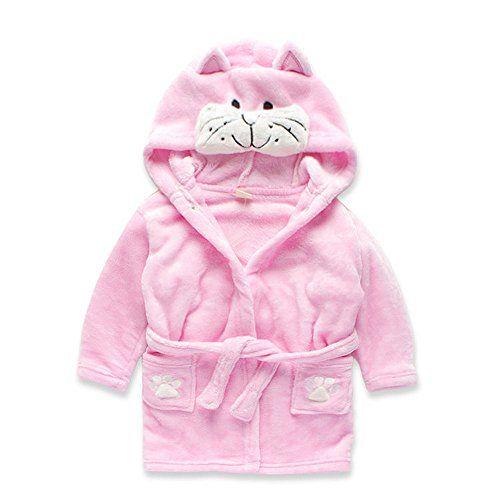 Youtop Flannel Kids Cartoon Pajamas Hooded Night Robe Pink Kitty