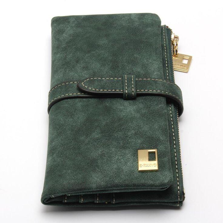 2016 New Fashion Women Wallets Drawstring Nubuck Leather Zipper Wallet Women's