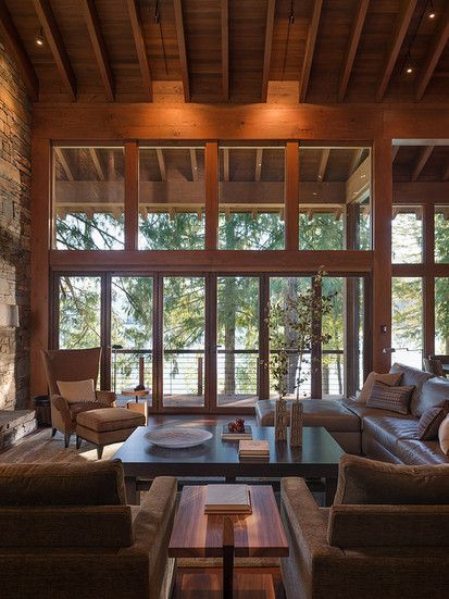 Luxury Wildnerness Retreat, Contemporary Family Room, Seattle