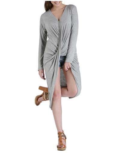 ΝΕΕΣ ΑΦΙΞΕΙΣ :: Μπλουζοφόρεμα Κρουαζέ Light Grey - OEM