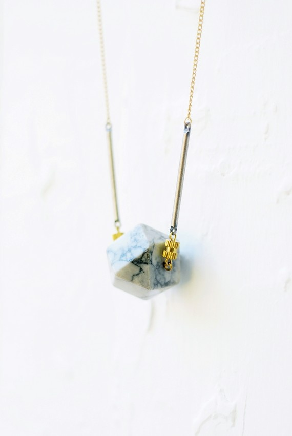 Octahedron Howlite Necklace