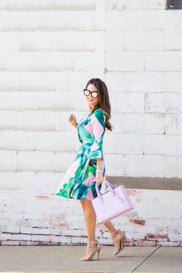 $22 Palm Leaf Print Dress with Pink, Fit N Flare Dress, www.sabbystyle.com