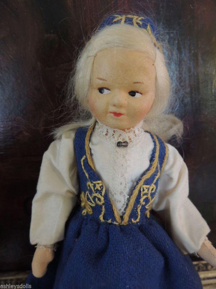 Ronnaug Petterssen Doll, 7 1/2 IN, Rogaland Costume, All Original, Cloth Doll! #Dolls Ashleysdolls.com