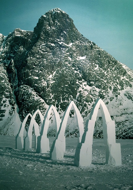 """evironmental art by Andy Goldsworthy: """"Five Arches. Bent over by the wind."""" Grise Fjord, Ellesmere Island, Canada"""