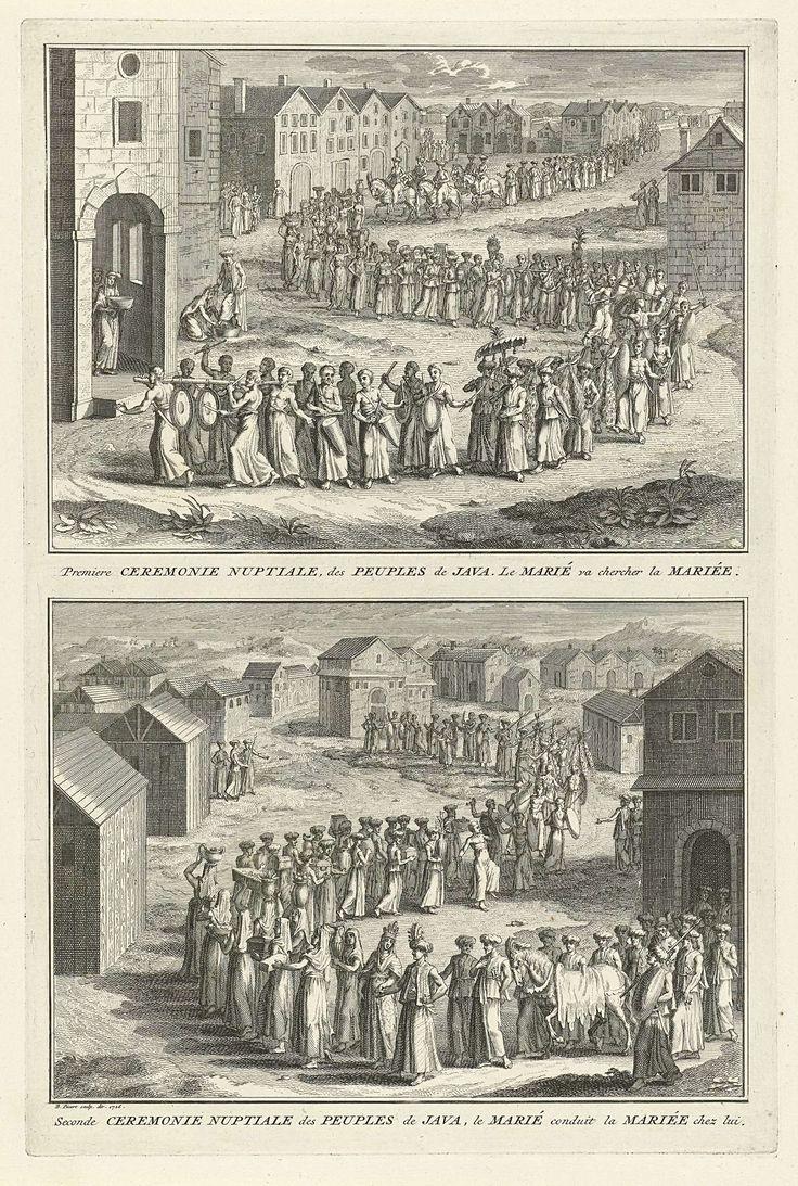 Bernard Picart | Javaanse huwelijksrituelen, Bernard Picart, 1726 | Blad met twee voorstellingen van Javaanse huwelijksrituelen. Boven: Processie naar het huis van de bruid. De vrouwen dragen de geschenken voor de bruiloft. Bij het huis wast de bruid de voeten van haar aanstaande echtgenoot. Onder: Processie naar het huis van de bruidegom. Het paard waar hij eerst op reed wordt aan de hand meegevoerd. Onder de voorstellingen een onderschrift in het Frans.
