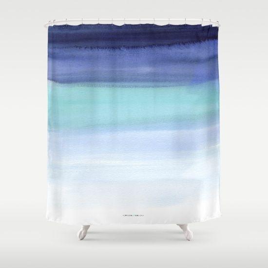 Mykonos Shower Curtain by Crystal Walen @society6 | Home Decor, Bathroom Decor, Nautical, blue ombre