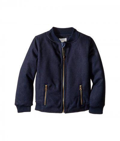Pumpkin Patch Kids - Baseball Zip-Up Felt Jacket (Infant/Toddler/Little Kids/Big Kids) (Insignia Blue) Boy's Coat