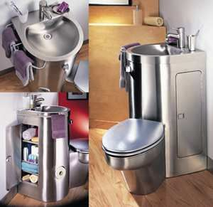 The people at Neo-Metro have done a nice job of designing this space-saving Toilet-Sink Combo. Pricey, but very shiny! | Tiny Homes