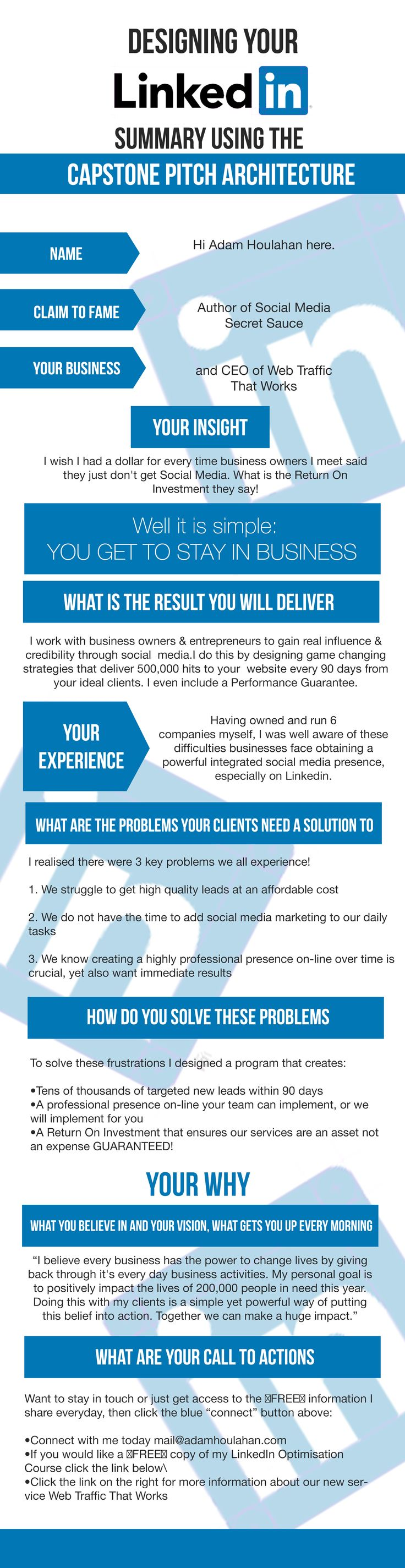 Want to know how to write a powerful #LinkedIn profile summary? Click on the image to view the finished version.