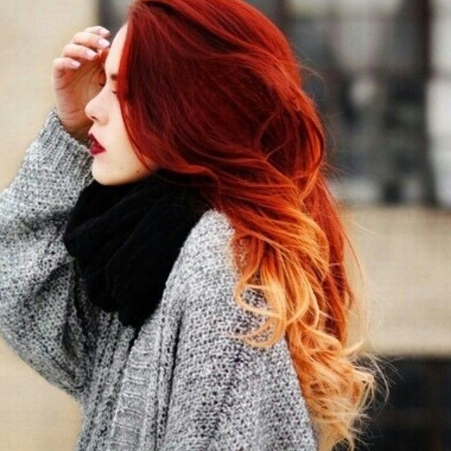 Red Orange Blonde Hair Color Colorfulhair Ombre