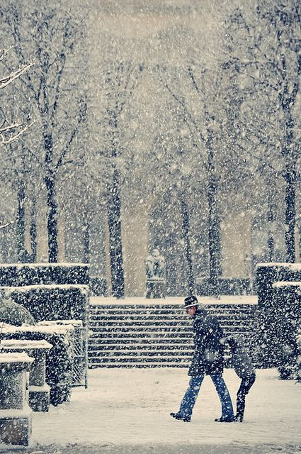 France. Paris under the snow