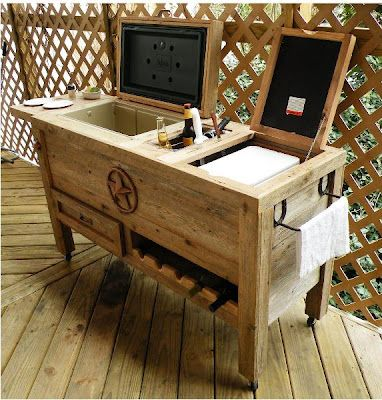 "Outdoor Kitchen: NEW ""SUPER DUPER"" Hand-Made, Weathered Wood Outdoor Ice Chest With"