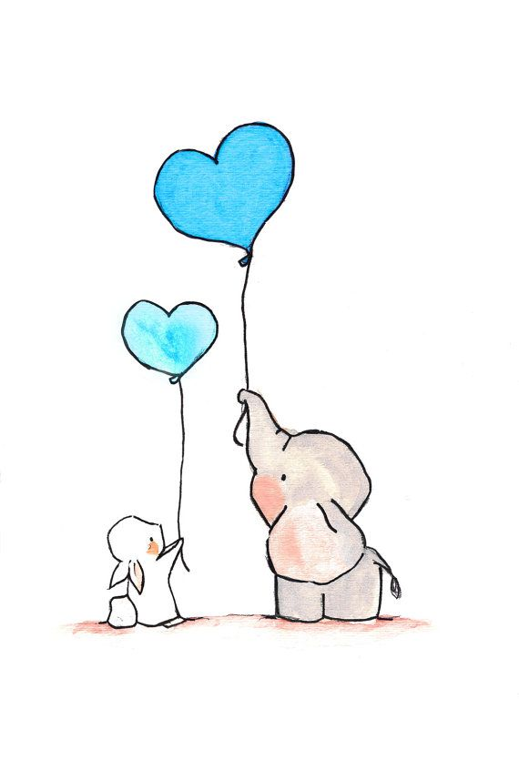 Flying Hearts, Turquoise.  Nursery elephant bunny art print decor