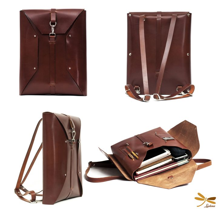 Leather backpack Ludena. Laptop bag, Handmade leather bag.