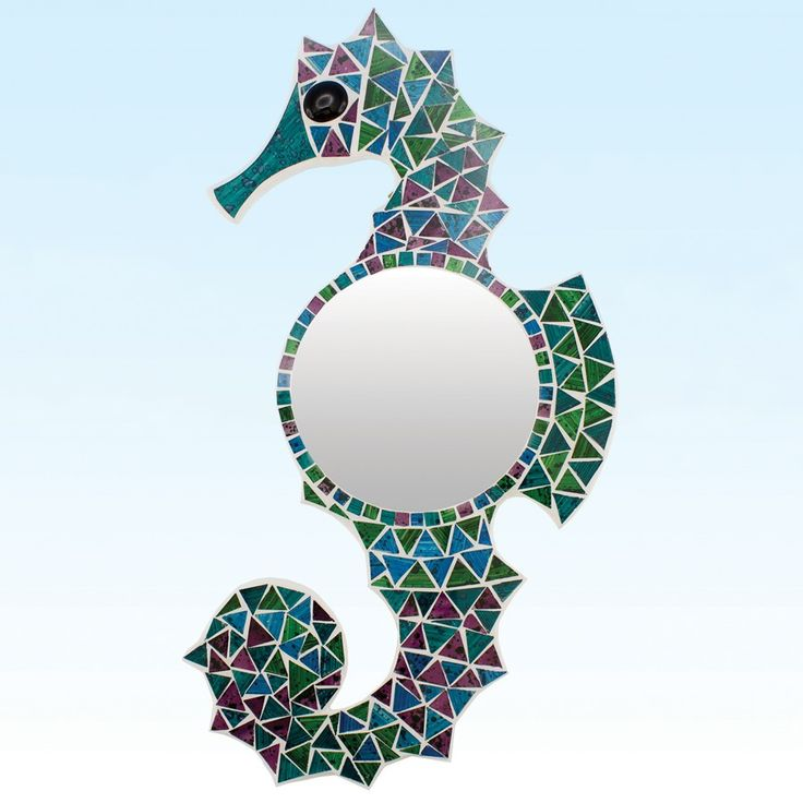 With Mosaic Tiles Forming A Seahorse Around A Round Mirror, This Beach Wall  Decor Piece