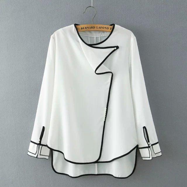 Áo sơ mi voan nữ dài tay, thiết kế viền áo nổi bật, phong cách cá tính giá rẻ nhất