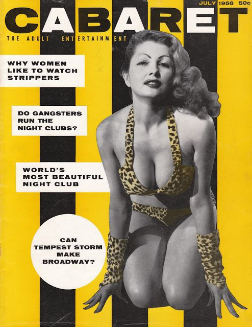 Vintage 1956 Pin-Up girl, Tempest Storm in a leopard bikini swimsuit. Meow.