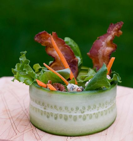 Cucumber Wrap Salad w/ Bacon & Blue Cheese - This website has great recipes & BEAUTIFUL photos - check it out!!!