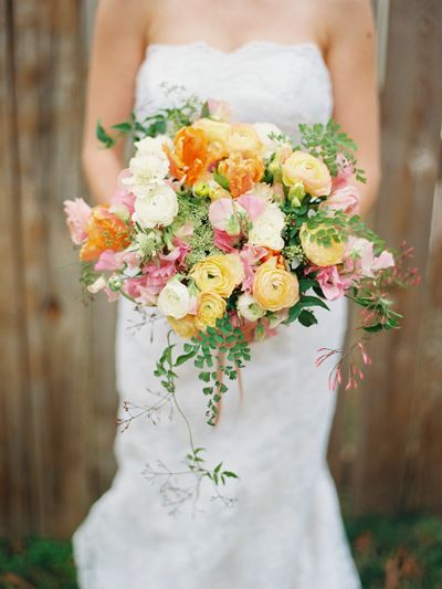 Tulip and Ranunculus Wedding Bouquets