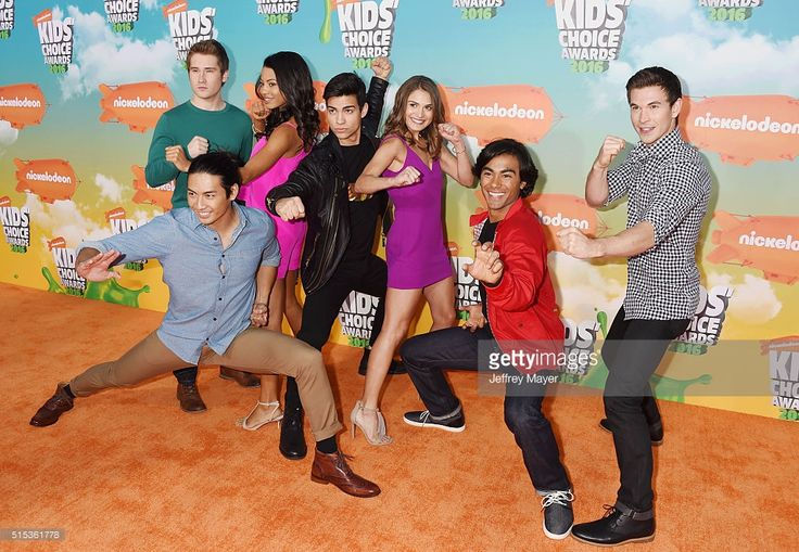 Actors Yoshi Sudarso, Michael Taber, Camille Hyde, Davi Santos, Claire Blackwelder, Brennan Mejia, and James Davies of Power Rangers Dino Charge attend Nickelodeon's 2016 Kids' Choice Awards at The Forum on March 12, 2016 in Inglewood, California.