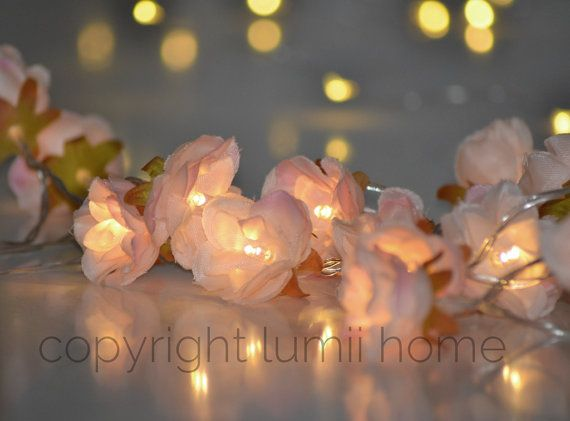 Pale Pink Rose Flower Fairy String Warm White LED Lights, Vintage Wedding  Bedroom Decoration Centerpiece