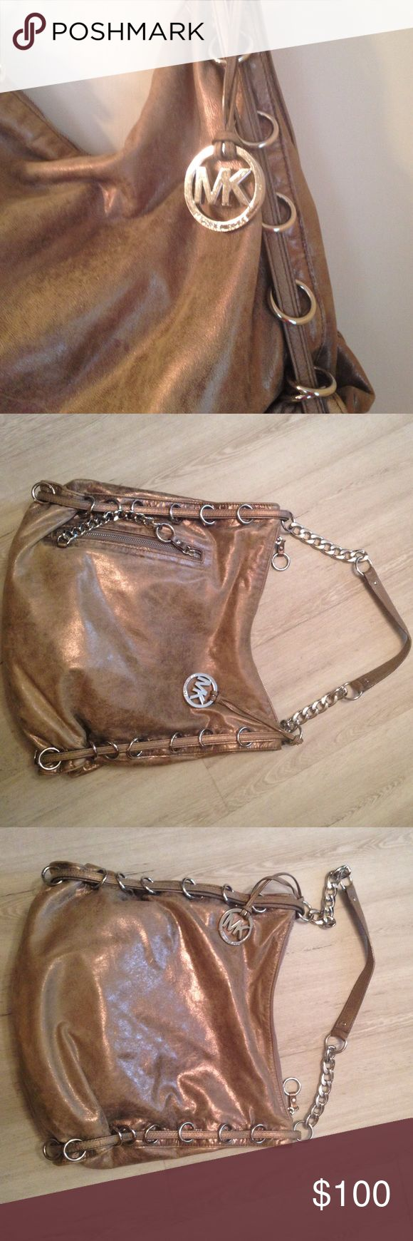 Michael Kors metallic bag Michael Kors metallic bag with silver chain- link handle, excellent condition Michael Kors Bags Shoulder Bags