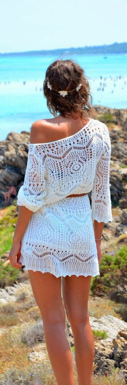 Gorgeous one shoulder lace mini dress for summer. Too bad summer is gone here. );
