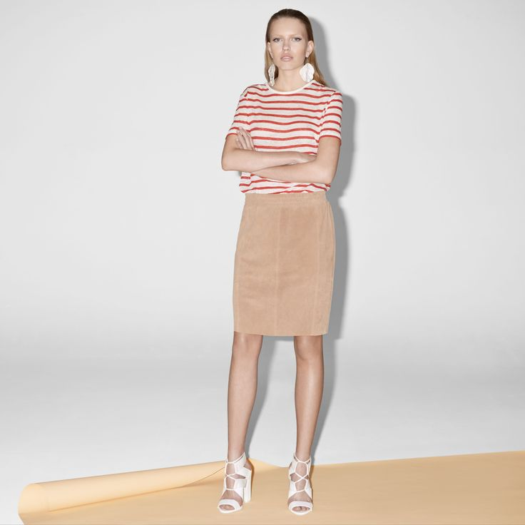 FWSS Shut Up Pencil is a suede skirt in soft goat leather with raw edge details at the hem and an elasticated waist.  http://fallwinterspringsummer.com/