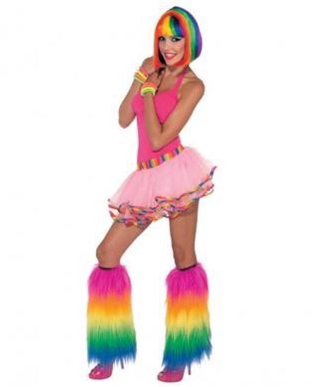 Adult Tutu Pink with Rainbow Trim, Skirt Costume Dance Running Ballerina O/S #ForumNovelties #TutuMicroMini