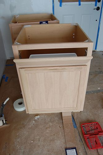 How to convert a base cabinet into a sink base and how to for Diy bathroom sink cabinet