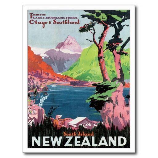 Vintage Otago New Zealand Travel Poster Art Post Cards