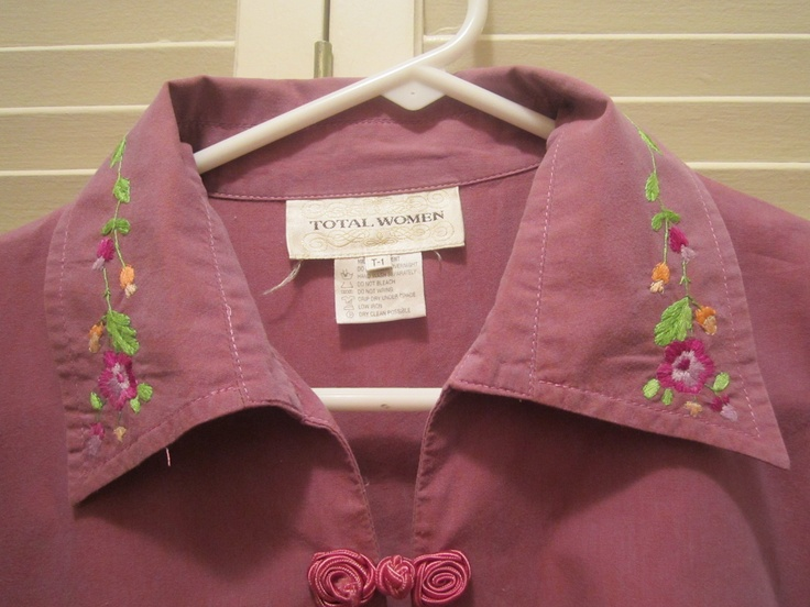 Embroidered collar on what used to be a plain blouse