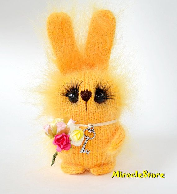 Yellow stuffed Bunny with bunch of flowers Hand-knitted Rabbit Toy Amigurumi Bunny Miniature Animals Hare Dolls bunny Toy Bunny Plush bunny