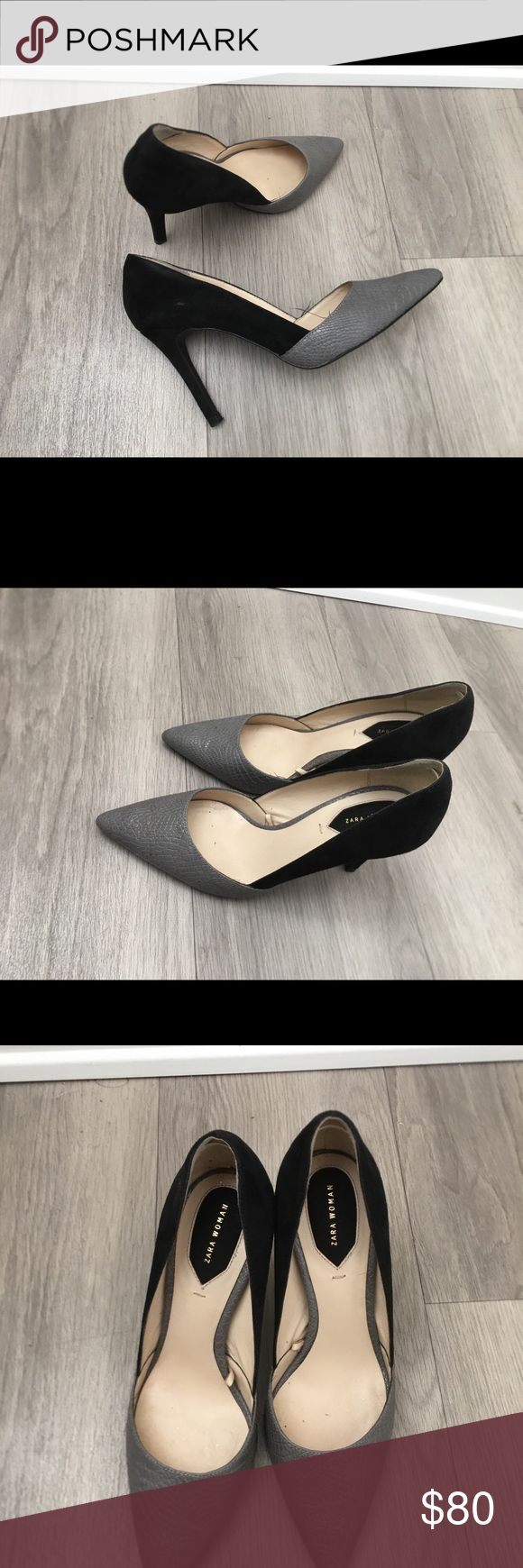 Two-color tone Heels by Zara Size 6 Grey leather and Black Suede - two tone heels Zara Shoes Heels