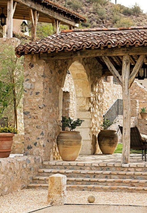 Petanque Court And Fireplace Loggia Garden Beauty