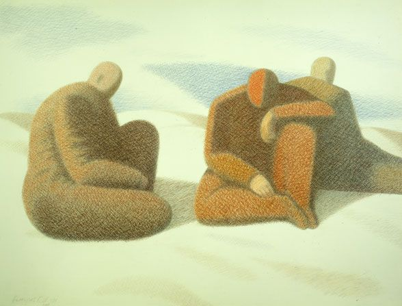 "Garif Basyrov - Three Figures in the Desert (1991) From the series ""Inhabited Landscapes"". Colored pencil on paper, 75,1x96,4 cm"