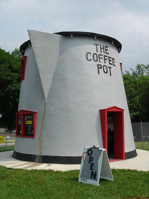 The Coffee Pot, sometimes called the Koontz Coffee Pot, was built in 1927 by David Berton Koontz to attract more customers to his service station next to Lincoln Highway/U.S. Route 30. in Bedford, Pennsylvania. Now the Bedford Coffee Pot, it sits in its restored glory at the Bedford County Fairgrounds.